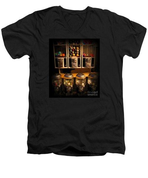 Gumball Memories - Row Of Antique Vintage Vending Machines - Iconic New York City Men's V-Neck T-Shirt by Miriam Danar