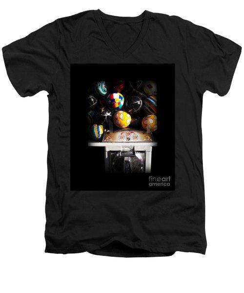 Series - Gumball Memories 1 - Iconic New York City Men's V-Neck T-Shirt by Miriam Danar