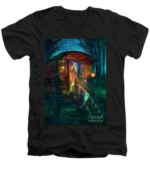 Gypsy Firefly Men's V-Neck T-Shirt by Aimee Stewart