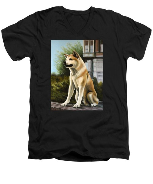 Hachi Painting Men's V-Neck T-Shirt by Paul Meijering