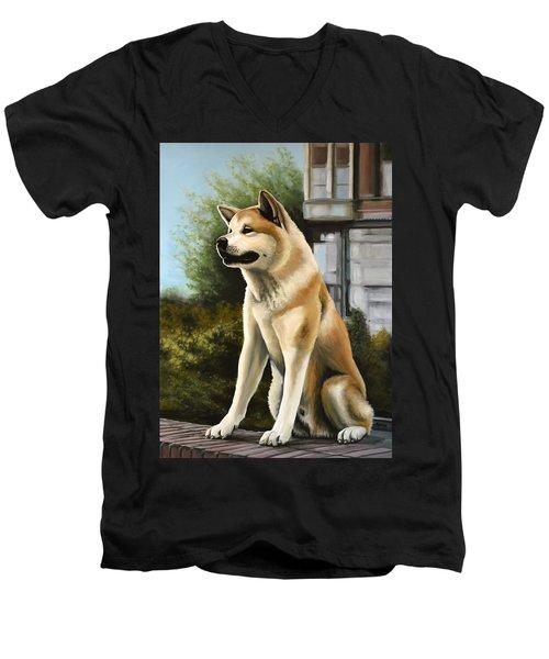 Hachi Painting Men's V-Neck T-Shirt