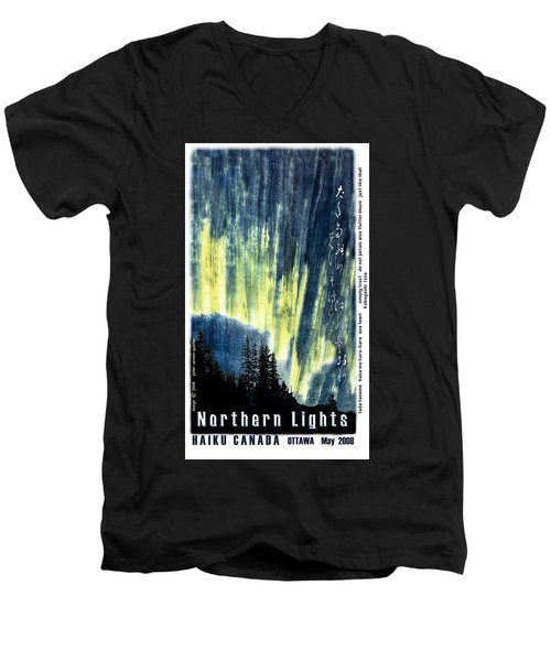 Men's V-Neck T-Shirt featuring the photograph Haiga Poster Haiku Canada Conference  by Peter v Quenter