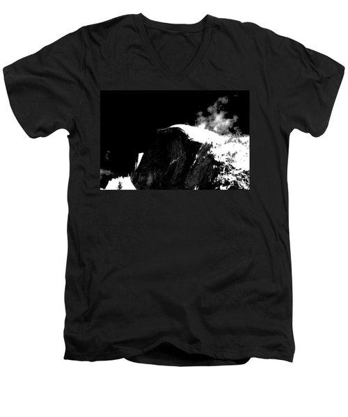 Half Dome In Winter Bw Men's V-Neck T-Shirt
