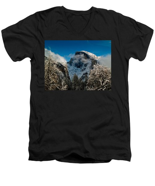 Half Dome Winter Men's V-Neck T-Shirt by Bill Gallagher