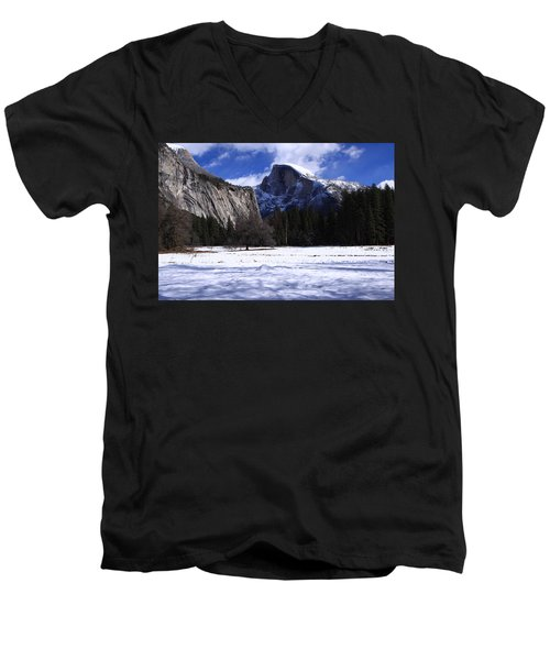 Half Dome Winter Snow Men's V-Neck T-Shirt by Duncan Selby