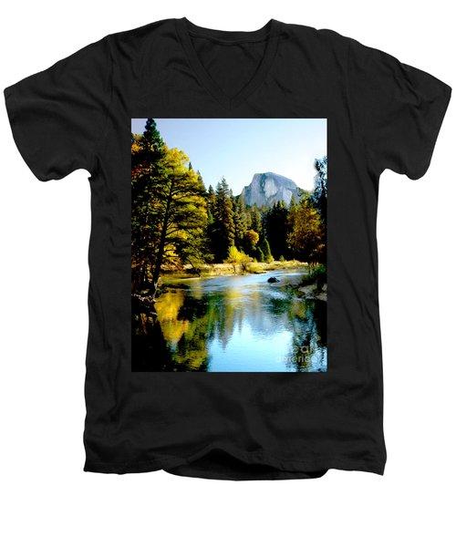 Half Dome Yosemite River Valley Men's V-Neck T-Shirt