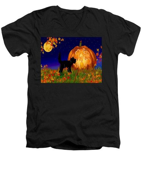 Halloween Black Cat Meets The Giant Pumpkin Men's V-Neck T-Shirt by Michele Avanti