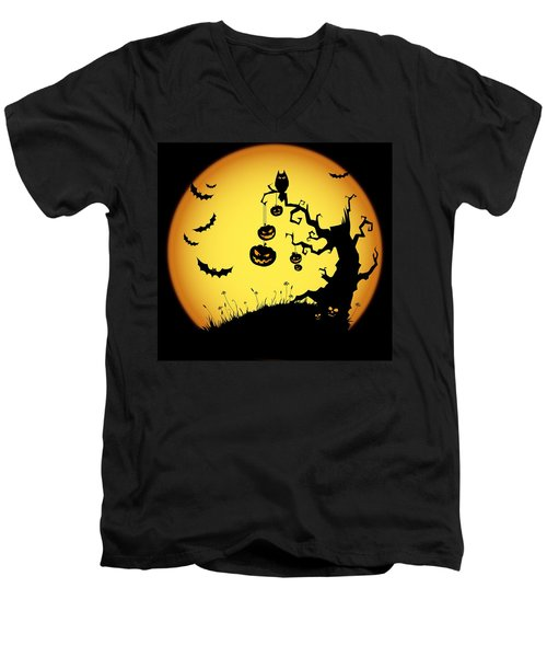 Men's V-Neck T-Shirt featuring the photograph Halloween Haunted Tree by Gianfranco Weiss