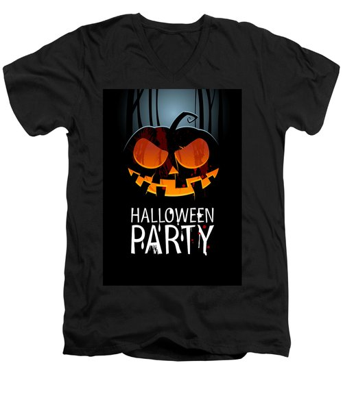 Men's V-Neck T-Shirt featuring the painting Halloween Party by Gianfranco Weiss