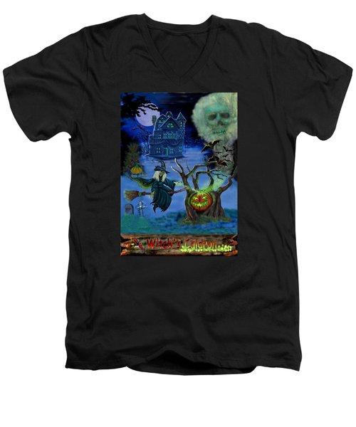 Halloween Witch's Coldron Men's V-Neck T-Shirt by Glenn Holbrook