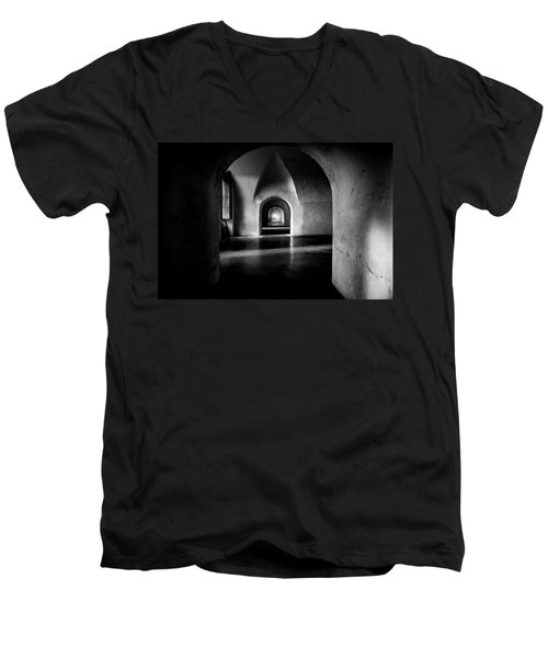 Men's V-Neck T-Shirt featuring the photograph Halls by Kristopher Schoenleber