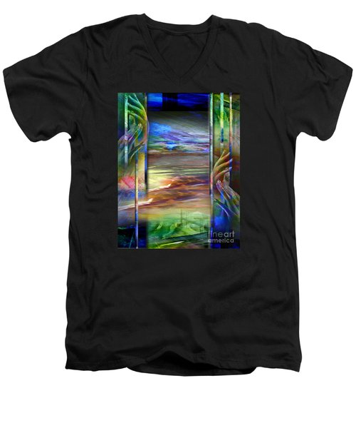 Men's V-Neck T-Shirt featuring the painting Hands-prisoned by Allison Ashton