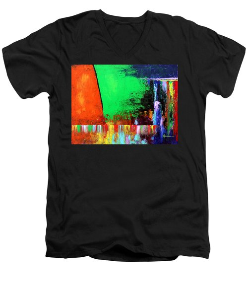 Men's V-Neck T-Shirt featuring the painting Happiness by Kume Bryant
