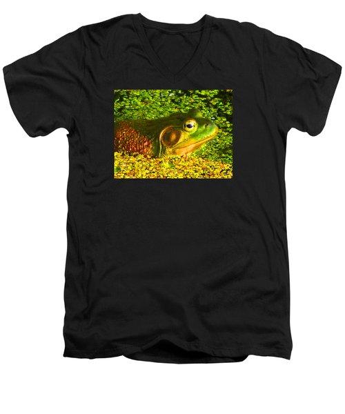 Happy As A Frog In A Pond Men's V-Neck T-Shirt