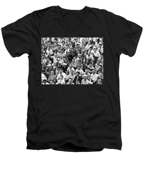 Happy Baseball Fans In The Bleachers At Yankee Stadium. Men's V-Neck T-Shirt
