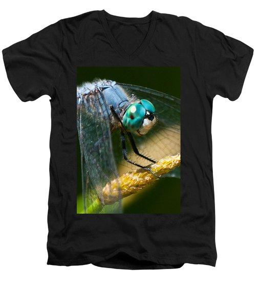 Happy Blue Dragonfly Men's V-Neck T-Shirt