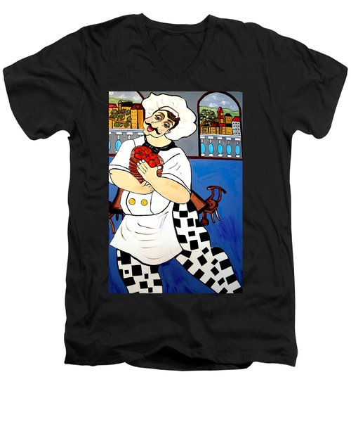 Men's V-Neck T-Shirt featuring the painting Chef  Happy Chef by Nora Shepley