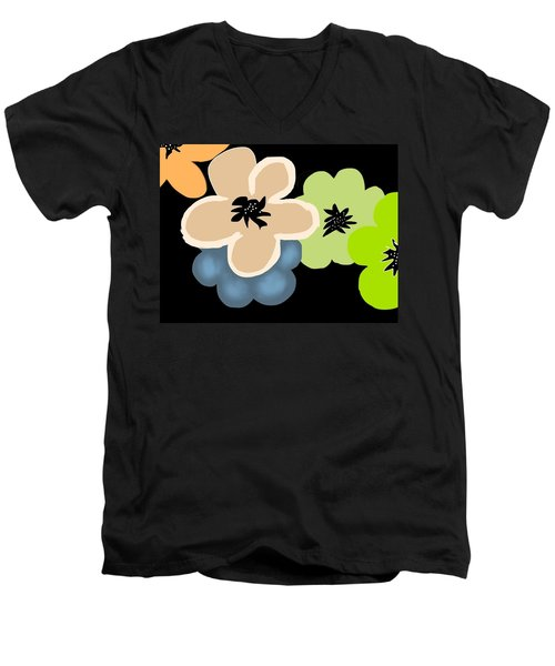 Men's V-Neck T-Shirt featuring the digital art Happy Flowers Blue by Christine Fournier