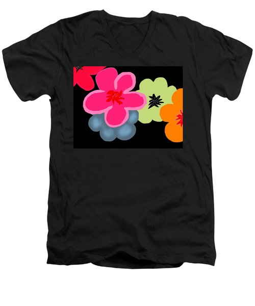 Men's V-Neck T-Shirt featuring the digital art Happy Flowers Pink by Christine Fournier