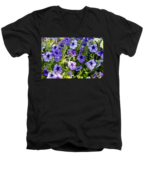 Men's V-Neck T-Shirt featuring the photograph Happy Flowers by Wilma  Birdwell