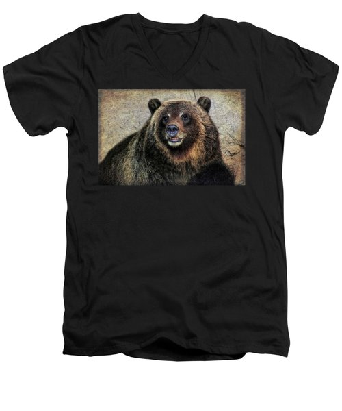 Happy Grizzly Bear Men's V-Neck T-Shirt