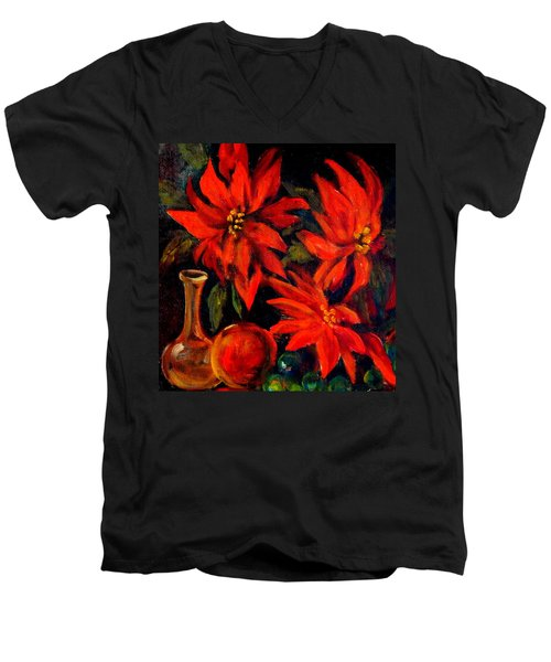 New Orleans Red Poinsettia Oil Painting Men's V-Neck T-Shirt by Michael Hoard