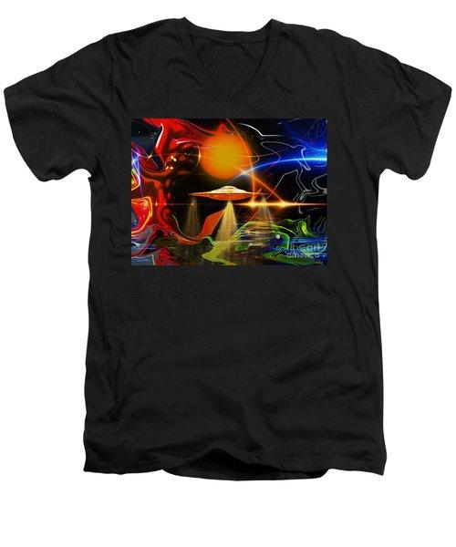 Men's V-Neck T-Shirt featuring the digital art Happy Landing by Eleni Mac Synodinos