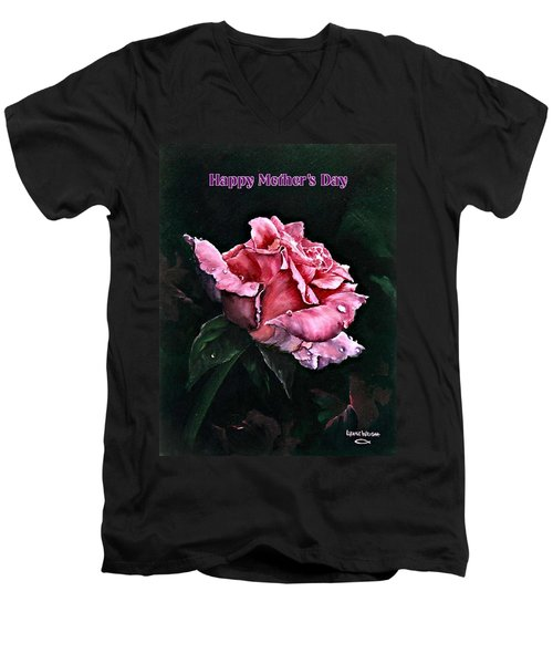 Men's V-Neck T-Shirt featuring the painting Happy Mother's Day by Lynne Wright