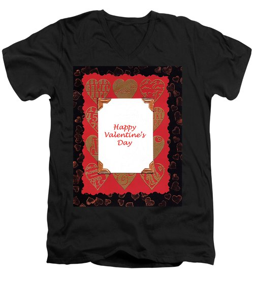 Men's V-Neck T-Shirt featuring the photograph Happy Valentines Day Card by Vizual Studio