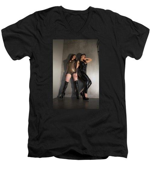 Hard And Soft Men's V-Neck T-Shirt by Mez