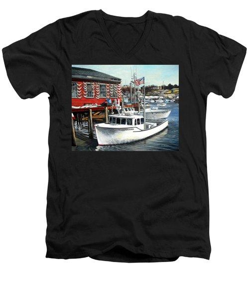Hard Merchandise Rocky Neck Men's V-Neck T-Shirt by Eileen Patten Oliver