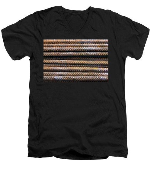 Hard Metal Rebar Pattern Men's V-Neck T-Shirt