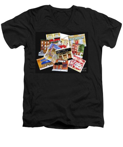 Harlem Jazz Clubs Men's V-Neck T-Shirt by AFineLyne