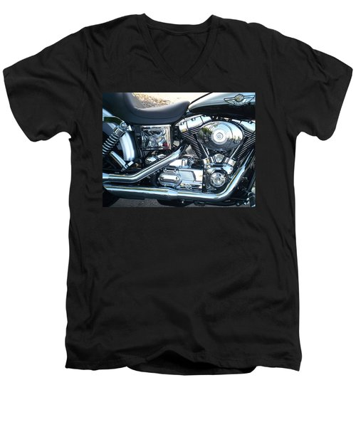Harley Black And Silver Sideview Men's V-Neck T-Shirt