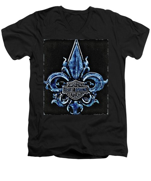 Men's V-Neck T-Shirt featuring the photograph Harley Davidson Fleur De Lys Logo by Danielle  Parent