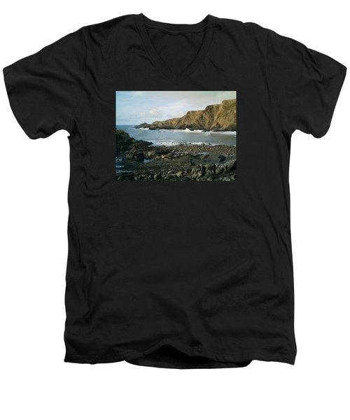 North Devon - Hartland Quay Men's V-Neck T-Shirt by Richard Brookes