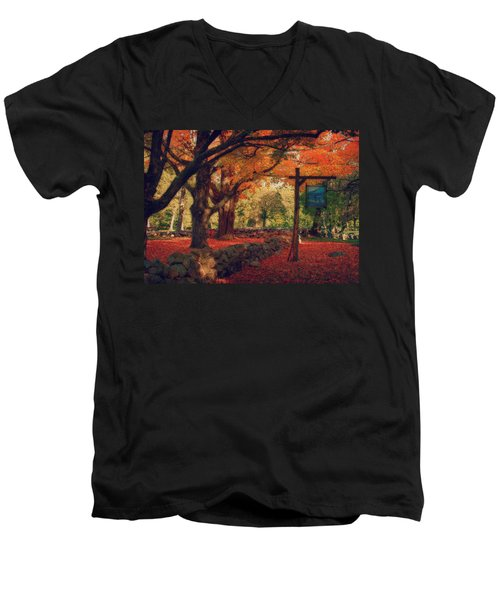 Hartwell Tavern Under Orange Fall Foliage Men's V-Neck T-Shirt by Jeff Folger