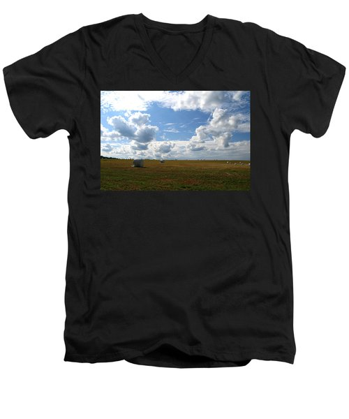 Men's V-Neck T-Shirt featuring the photograph Harvest Blue  by Neal Eslinger