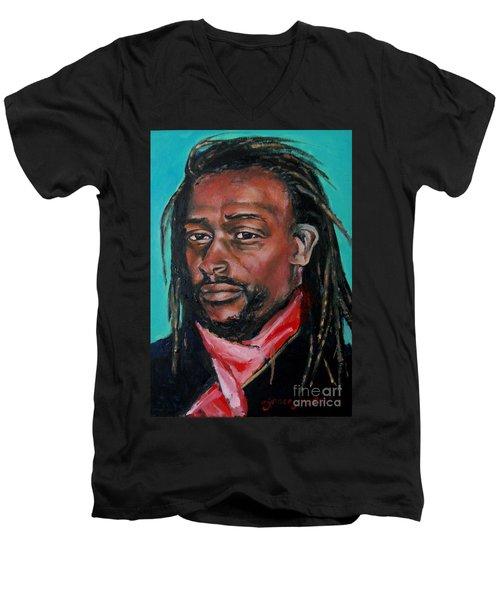 Hat Man - Portrait Men's V-Neck T-Shirt