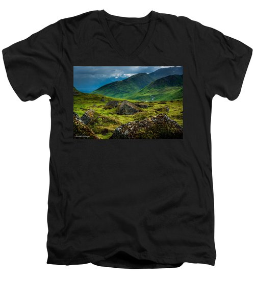 Hatcher's Pass  Men's V-Neck T-Shirt by Andrew Matwijec