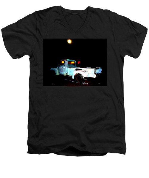 Men's V-Neck T-Shirt featuring the digital art Haunted Truck by Cathy Anderson