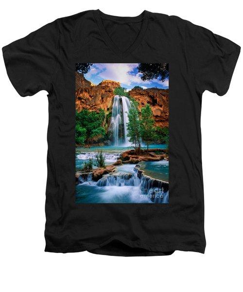 Havasu Cascades Men's V-Neck T-Shirt by Inge Johnsson