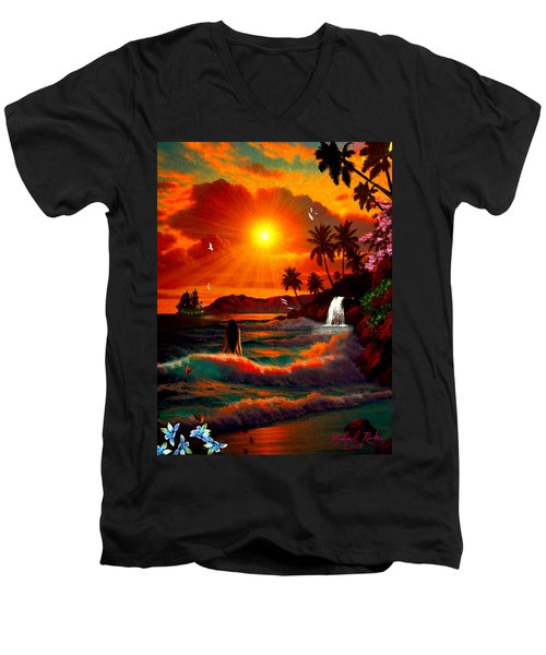 Hawaiian Islands Men's V-Neck T-Shirt by Michael Rucker