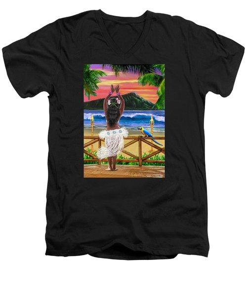 Hawaiian Sunset Hula Men's V-Neck T-Shirt by Glenn Holbrook