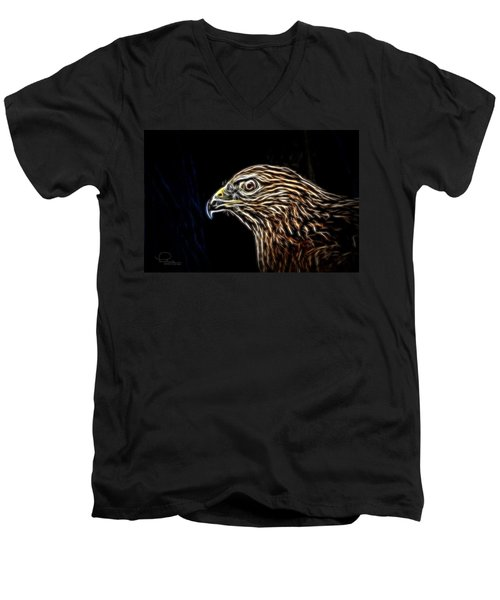Men's V-Neck T-Shirt featuring the photograph Hawk by Ludwig Keck