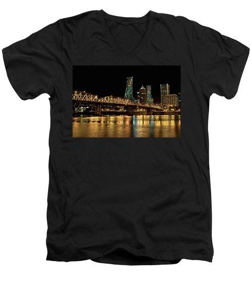Hawthorne Bridge Over Willamette River Men's V-Neck T-Shirt