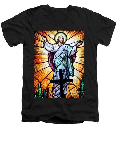 He Is Risen Men's V-Neck T-Shirt by Ed Weidman