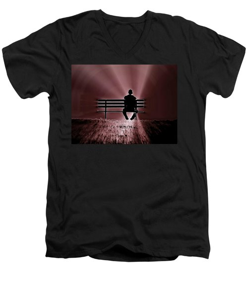 Men's V-Neck T-Shirt featuring the photograph He Spoke Light Into The Darkness by Micki Findlay