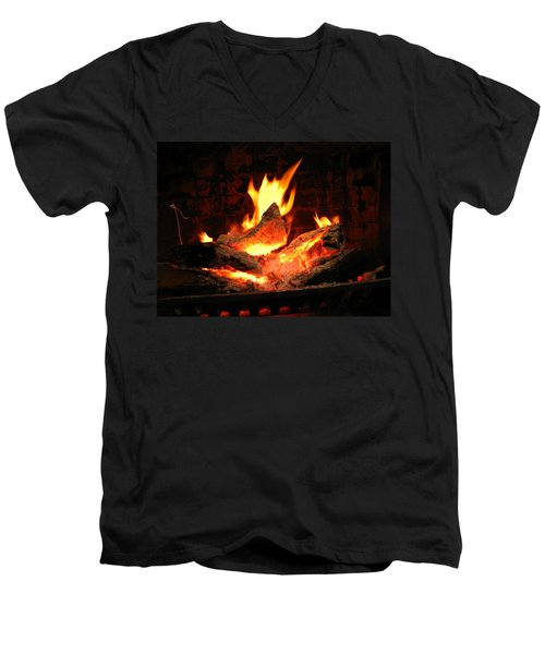 Heart-shaped Ember In Roaring Fire Men's V-Neck T-Shirt by Connie Fox
