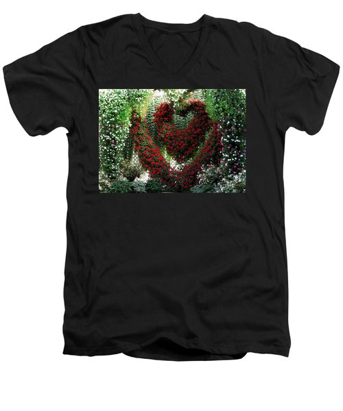Men's V-Neck T-Shirt featuring the photograph Hearts And Flowers by Jennifer Wheatley Wolf